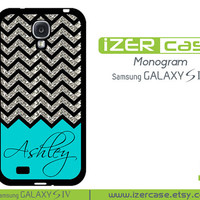 Personalized Monogrammed Samsung Galaxy S4 Case Chevron Pattern with Turquoise ( Not An Actual Glitter)