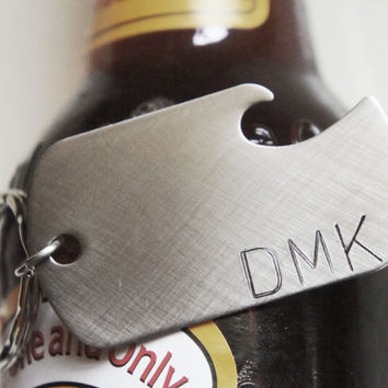 Custom Keychain Personalized Monogram Bottle Opener Best Man Groomsmen Gift for Him