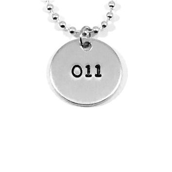 Stranger Things Eleven Hand Stamped 011 Aluminum Necklace Handmade