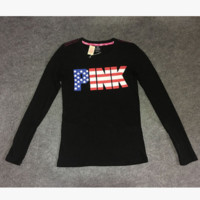 Victoria's Secret PINK color letters and slim long sleeved T-shirt flag leopard shirt