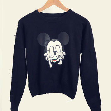 Mickey Print Long Sleeve Knitted Sweater