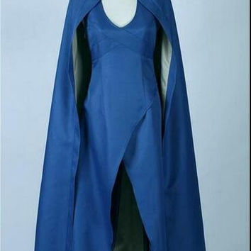 Game of Thrones Daenerys Targaryen Costume Blue Dress Cloak A Song Of Ice And Fire Movie Cosplay Halloween Costumes For Women