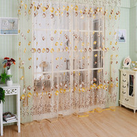New Tulip Floral Tulle Door Window Screening Curtain Sheer Drape