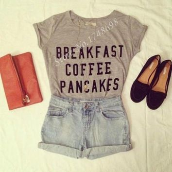 Breakfast Coffee Pancakes T-Shirt - Ladies Tops