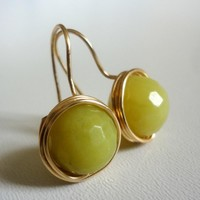 Lemon Jade Gemstone Golden Wire Wra.. on Luulla