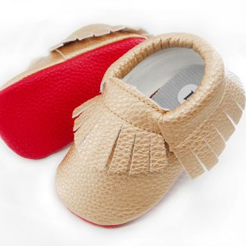 Handmade Soft red Bottom Fashion Tassels Baby Moccasin Newborn Baby Shoes 12-colors PU leather Prewalkers Boots