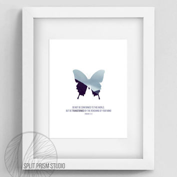 Original Wall Art, Printable Wall Art, Bible Verse, Scripture, Butterfly, Blue Butterfly Print, Nature, Nature Photography, Graphic Design