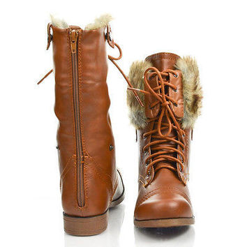 Freda45E Round Toe Lace Up Faux Fur Lining Fold Over Cuff Military Boots