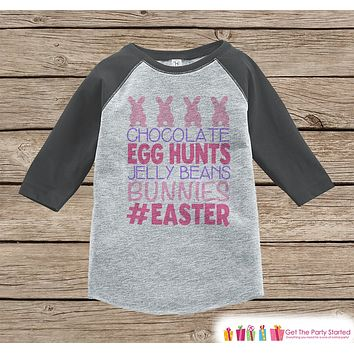 Girls Easter Outfit - #Easter Grey Raglan Shirt or Onepiece - Easter Egg Hunt - Easter Bunny - Baby, Toddler, Kids, Youth Novelty Raglan Tee
