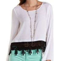 White Combo Crochet-Trim Bell Sleeve Swing Top by Charlotte Russe