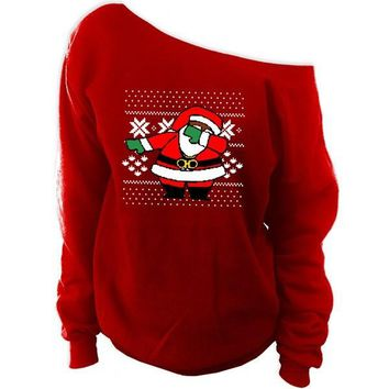 Dabbing Santa Claus Ugly Christmas Sweater | Off-The-Shoulder Oversized Slouchy Sweatshirt
