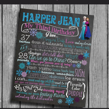 Frozen First Birthday Chalkboard Party Decoration Anna and Elsa Snowflakes Winter Onederland Party Purple Blue Teal Pink Birthday Sign