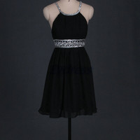 Simple black chiffon homecoming dress,short cheap prom dresses with sequins,2014 women gowns for party hot.