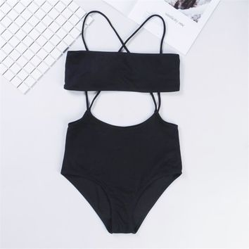Sexy Cut Out One Piece Swimsuit Solid Swimwear Women Bandage Swim Suits High Cut Monokini Trikini Bathing Suit Backless Beach