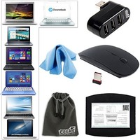 2.4G Wireless Mouse,USB Hub,Mouse Pad, EEEKit 5in1 starter Kit for Laptop,Apple MacBook Air Pro HP Stream 11/13 Samsung HP Chromebook 11.6