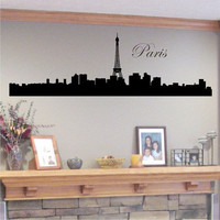 Paris Skyline Silhouette with Eiffel Tower - Vinyl Wall Art Decal