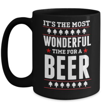 Funny Christmas Coffee Mug for Men Women Wonderful Time for a Beer