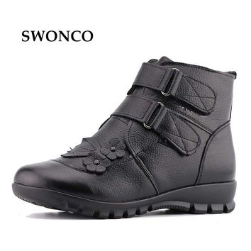 Women's Boots Ankle Boot Genuine Leather Warm Mother Shoes Winter Boot Ankle Boots For Women Black Rubber Sole Non-slip Shoes