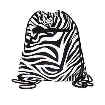 "15"" Drawstring Zebra Backpack  Bags"