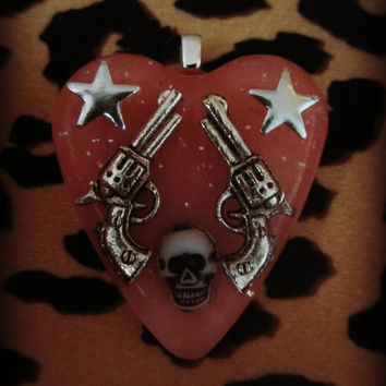 Revolver Pistol Guns Stars and Skull Statement Necklace NECK CANDY pink glitter