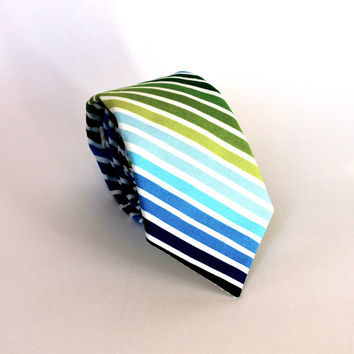 Men's Tie - Blue Multicolor Stripe - Blue Turquoise and Green Stripped