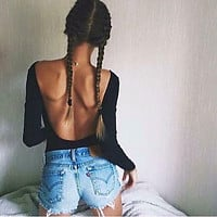 New Autumn Women Bodysuit Tops American Apparel Sexy Backless Long Sleeve  Black Short Rompers Womens Jumpsuit Overalls