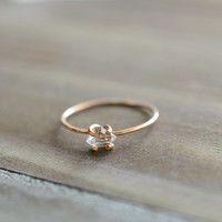 Herkimer Ring. Tiny Herkimer Diamond Quartz. Engagement Ring. Gold Herkimer Prong Ring. Delicate Everyday Quartz Jewelry. April Birthstone