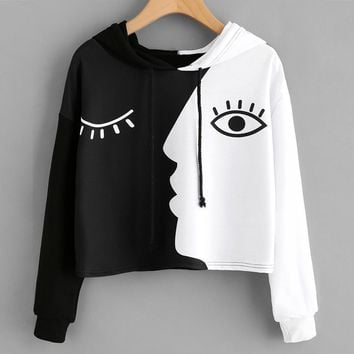 Day Night Black and White Hooded Pullover Sweatshirt