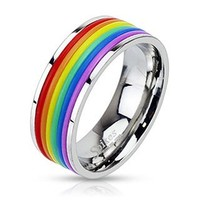 STR-0041 Stainless Steel Rainbow Rubber Striped Band Ring; Comes With Free Gift Box (7)