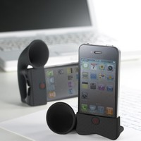 PORTABLE AMP FOR IPHONE HORN STAND BLACK (PORTABLE AUDIO/CELLULAR ACCESSORIES)