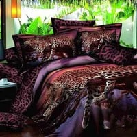 3D Leopard on the Tree Printed Cotton Luxury 4-Piece Bedding Sets/Duvet Covers
