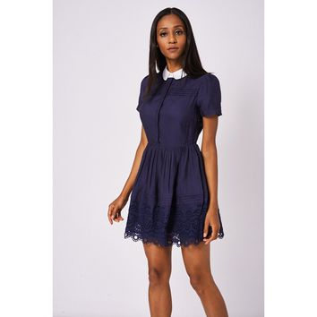 Navy Blue Skater Dress With White Collar Ex-Branded