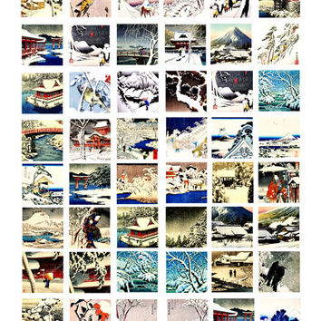Japanese winter snow landscape trees woodblock clip art collage sheet 1 inch squares digital art download vintage images, graphics art