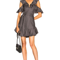Zimmermann Painted Heart V Dress in Charcoal & Cream Dot | FWRD