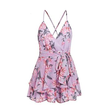 With A Little Luck Floral Pattern Sleeveless Spaghetti Strap V Neck Tie Waist Backless Ruffle Chiffon Romper Playsuit - 2 Colors Available
