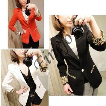 PEAPUG3 Candy Color Casual Blazer Suits Leopard Turn Back Cuff Lapel Blazer Jacket 7071