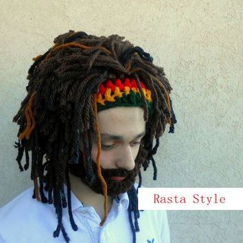 Rasta Man Jamaica Bob Marley Fear the beard dreads dreadlock halloween wig costume gag gift funny msc
