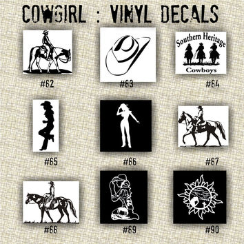COWGIRL vinyl decals | country western | country girl | car decals | car stickers | laptop sticker - 82-90