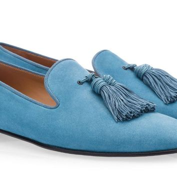 Blue Suede Big Tassel Loafers