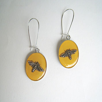 Bee Earrings yellow lemon citrine saffron amber canary mustard nature bohemian hippie long drop surgical steel animal insect greek jewelry