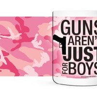 Guns Arent Just For Boys - Pink Camo Gun Coffee Mug - 11 oz.