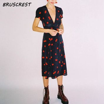 summer dress vintage wrap cherry floral print red maxi beach dress v neck sexy casual evening retro party dresses