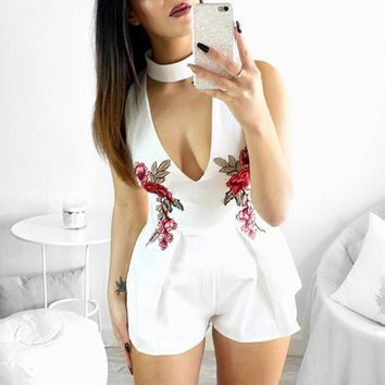 Sexy Bodysuits Women Party Playsuits Club Clothing Sleeveless Girls Romper Floral Print Deep V Choker Neck Jumpsuits Overalls