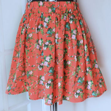 90's Floral Grunge Full Circle Mini Skirt/Pink Rose Flowers, Size Large Flirty Skater Skirt