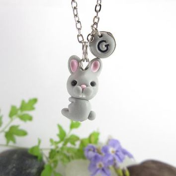Bunny necklace, rabbit necklace, Initial necklace, personalized necklace, bunny jewelry, cute gifts, bunny gifts woodland animals creatures