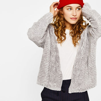 Chenille cardigan with cable-knit sleeves - Knitwear - Bershka United States