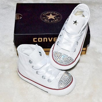 Customised Custom White Crystal Converse Chuck Taylor All Star Converse Hi Tops Silver Clear Crystal Rhinestoned Infants Kids Baby Girl