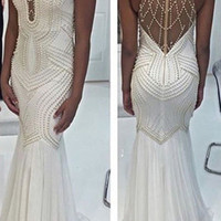 White Mermaid Prom Dresses 2017 High Neck Beautiful White Pearls Long Sexy Prom Party Gowns