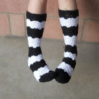Black and white stripe crochet slipper socks.