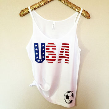 USA Womens Soccer Tank - World Cup Tank - Soccer Tank- Slouchy Relaxed Fit Tank -  Ruffles with Love - Fashion Tee - Graphic Tee